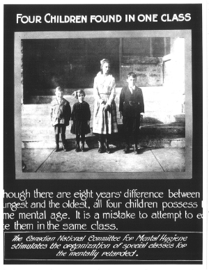 Propaganda poster about the feeble-minded put out by the CNCMH, 1920s. Photo courtesy of CAMH Archives.