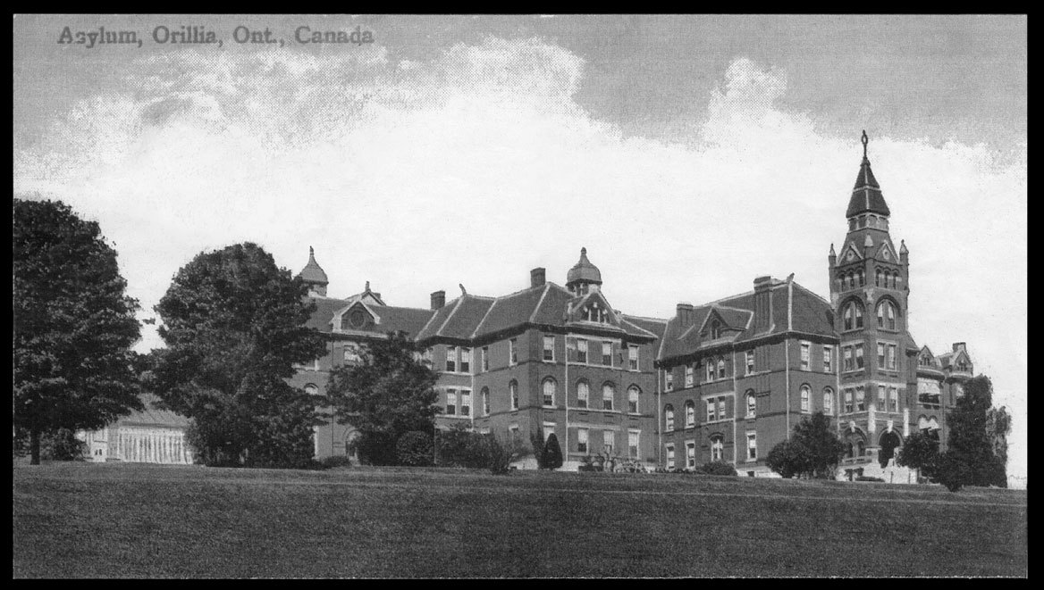 Asylum for Idiots, Orillia. The clock tower was removed in early 1900s after a fire in the institution. Photo: Courtesy Archives of Ontario.