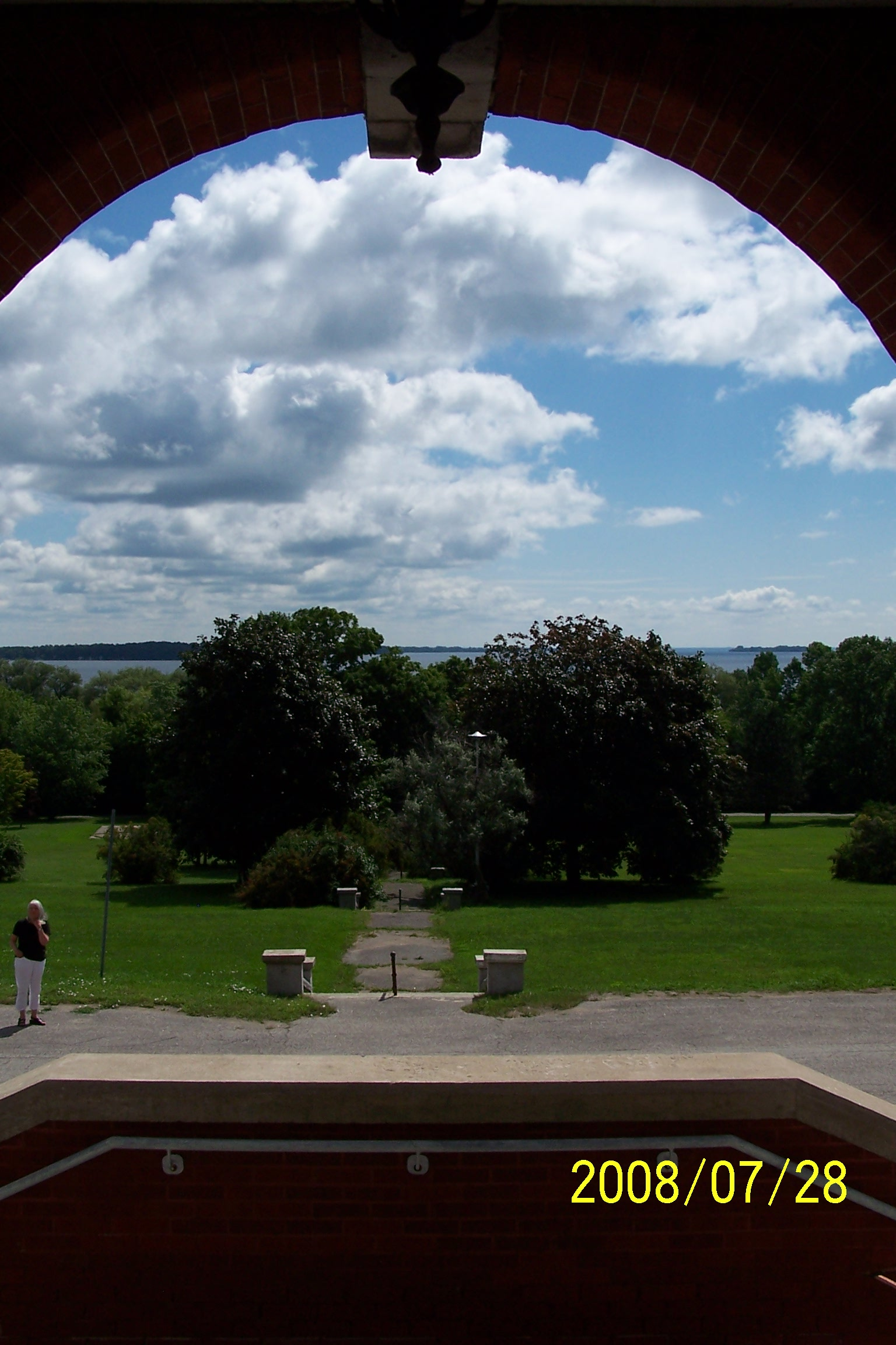 View from entrance and terrace toward Lake Simcoe. Grounds. Photo: Don Heald.
