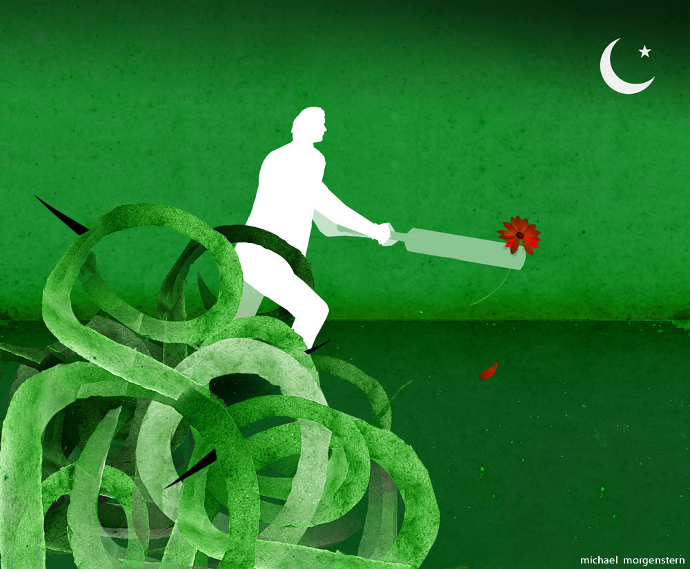 """""""Pakistan's saviour?"""" (a question re: the candidacy of  famous cricket player Imran Khan) - the Economist"""