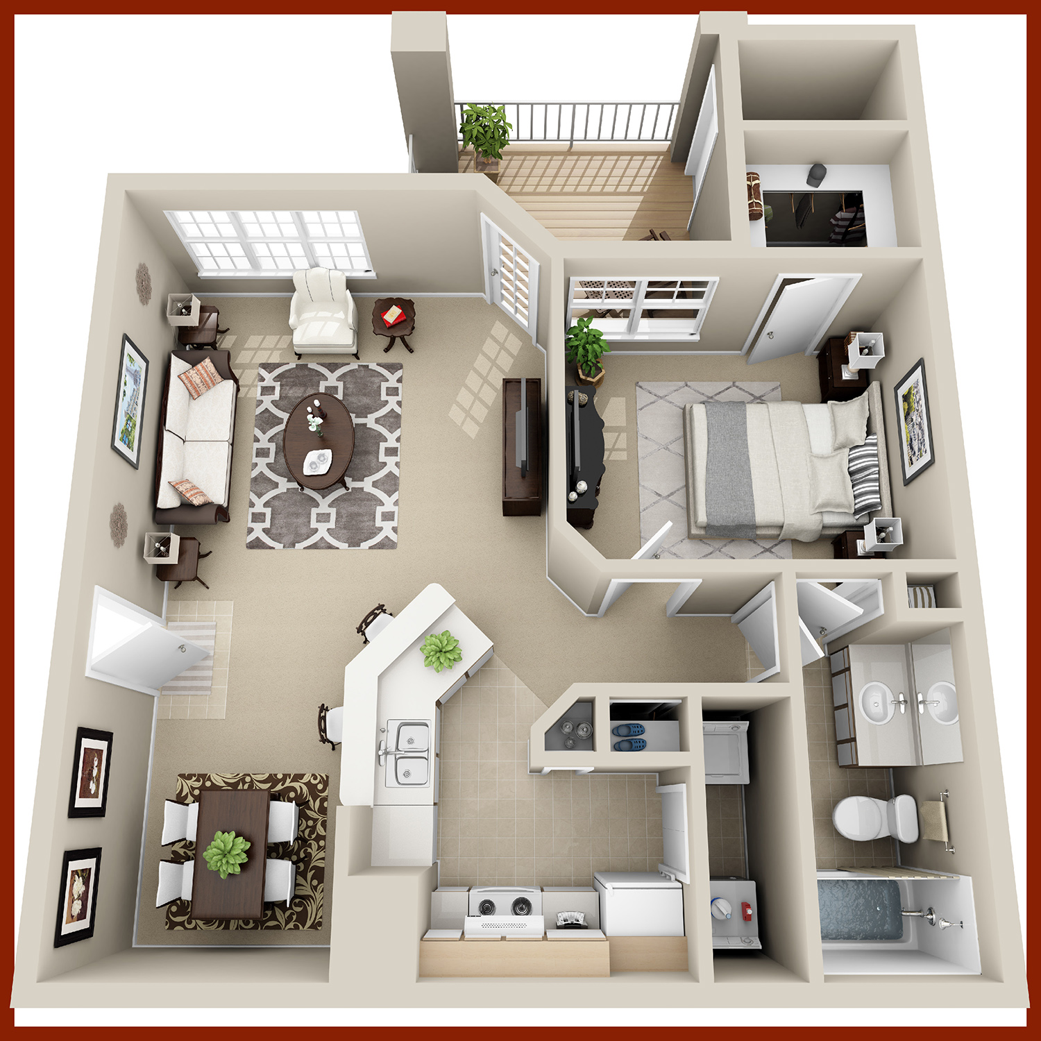 THE CYPRESS - One Bedroom & Bath, Dining Room | 763 sq. ft.