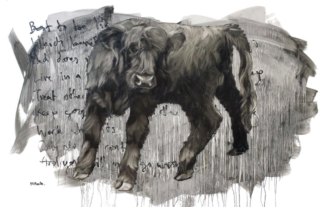 Gabrielle, Oil on Mylar, 58x 36 Inches