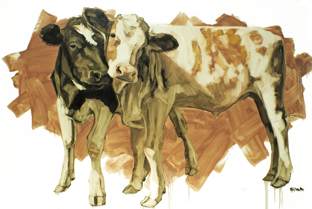 Colleen and Jackson, oil on mylar, 58x36 inches