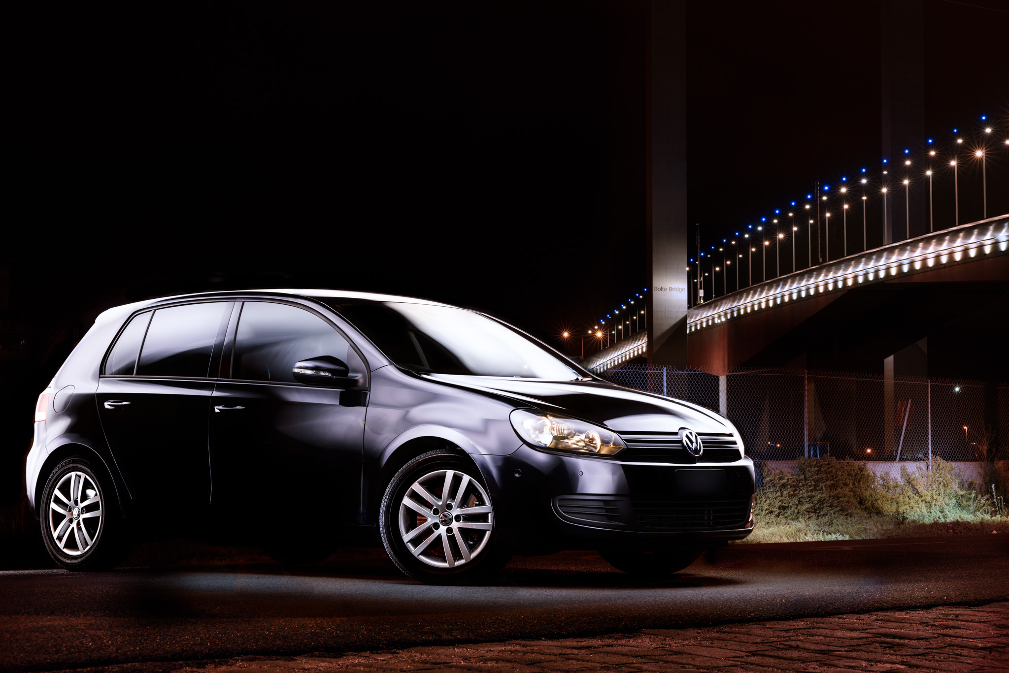 Light Painting - Light Painting - Volkswagen Golf Mk6 black Bolte Bridge