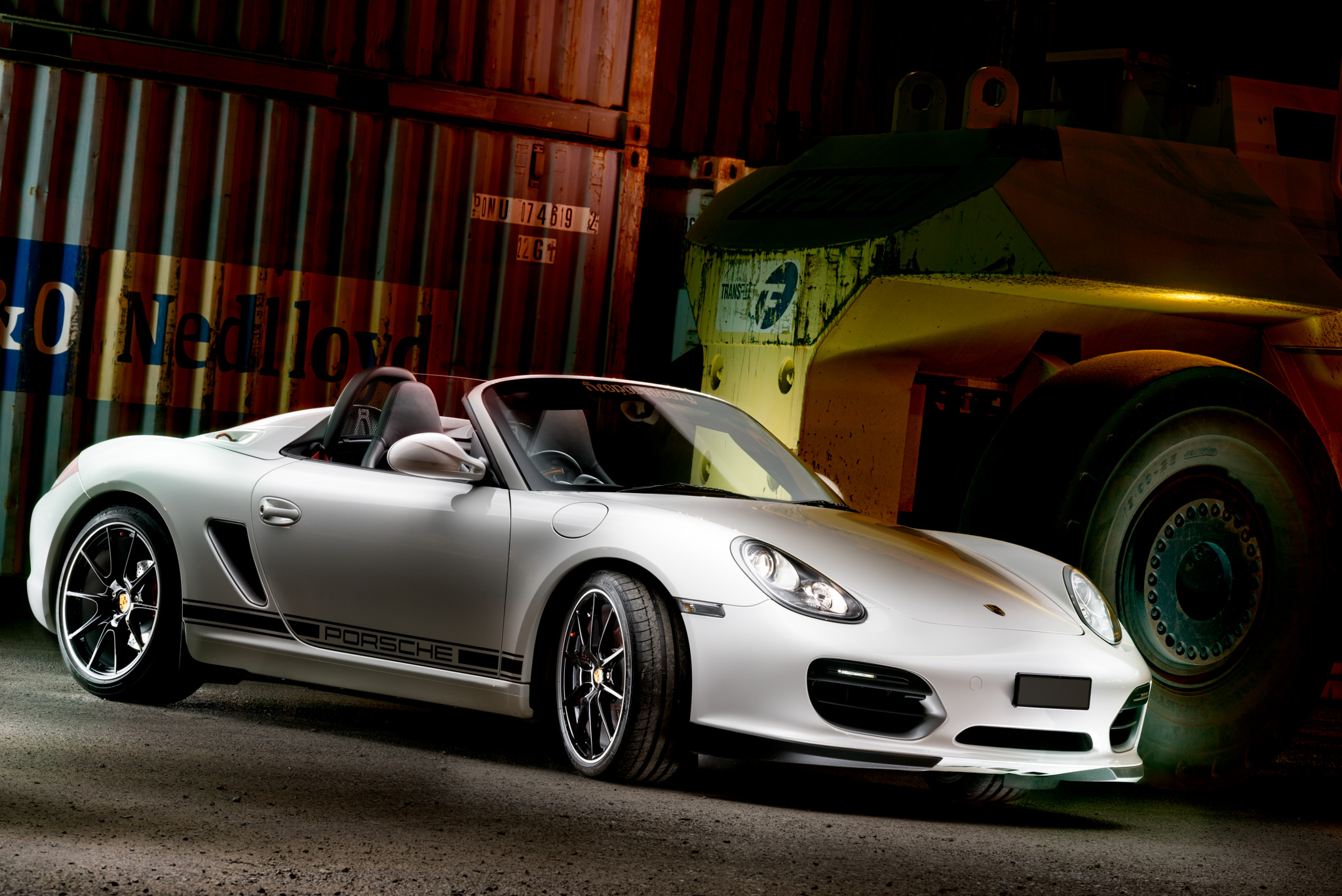 Light Painting - Porsche Boxster Spyder white