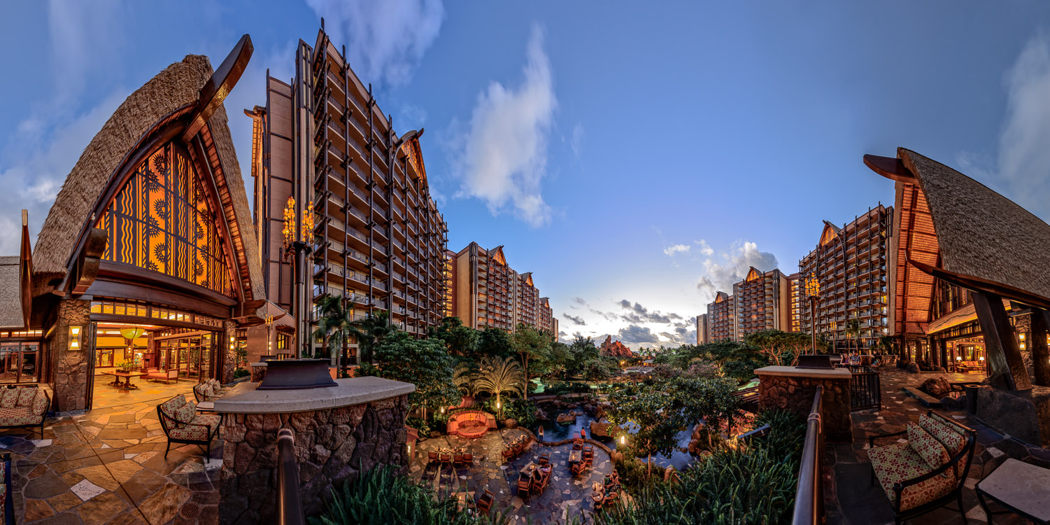 Only a panoramic merger could capture the scale of Disney's Aulani. (click image to enlarge)