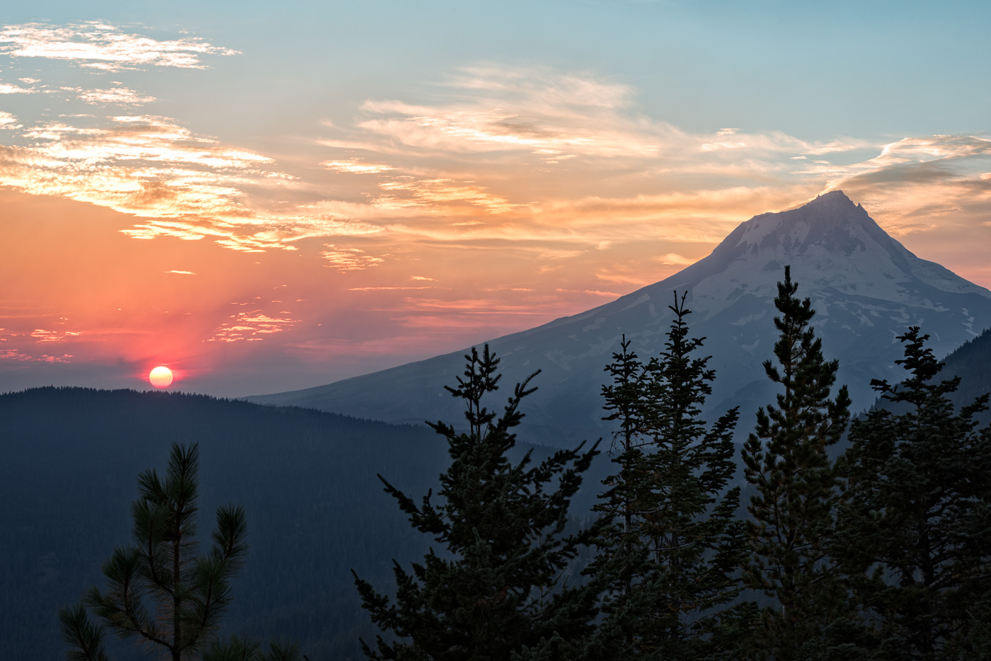 Smoke Filled Sunset over Mt. Hood.   Technical Details:  Nikon D810, Nikkor 70-200VRII @ F16 For 1/6 sec. @ ISO 64