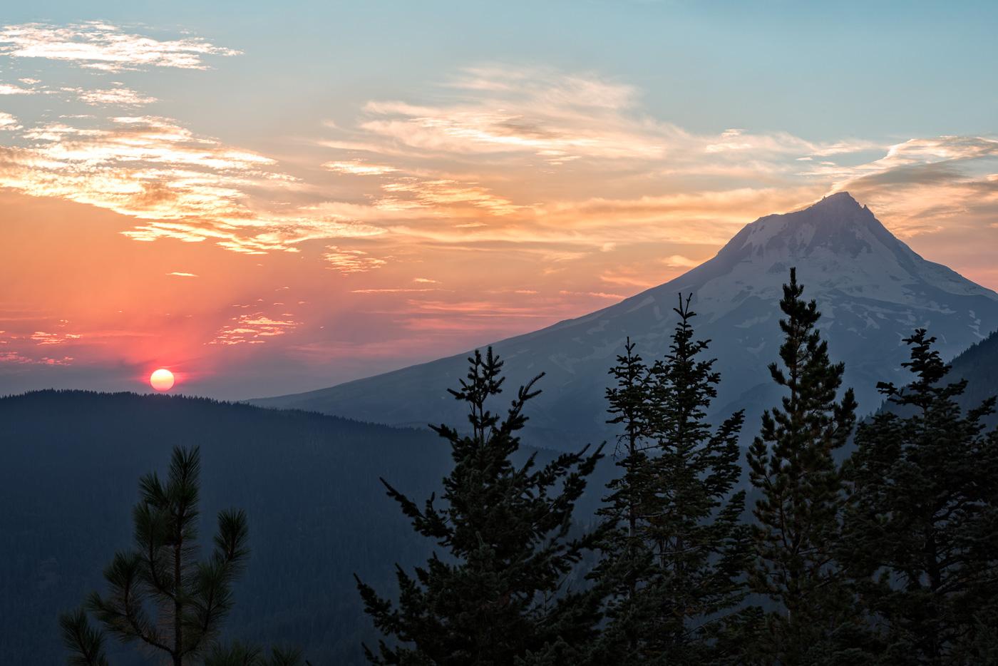 Smoke Filled Sunset over Mt. Hood.   Technical Details: Nikon D810, Nikkor 70-200VRII @ F16 For 1/6 sec. @ ISO 64