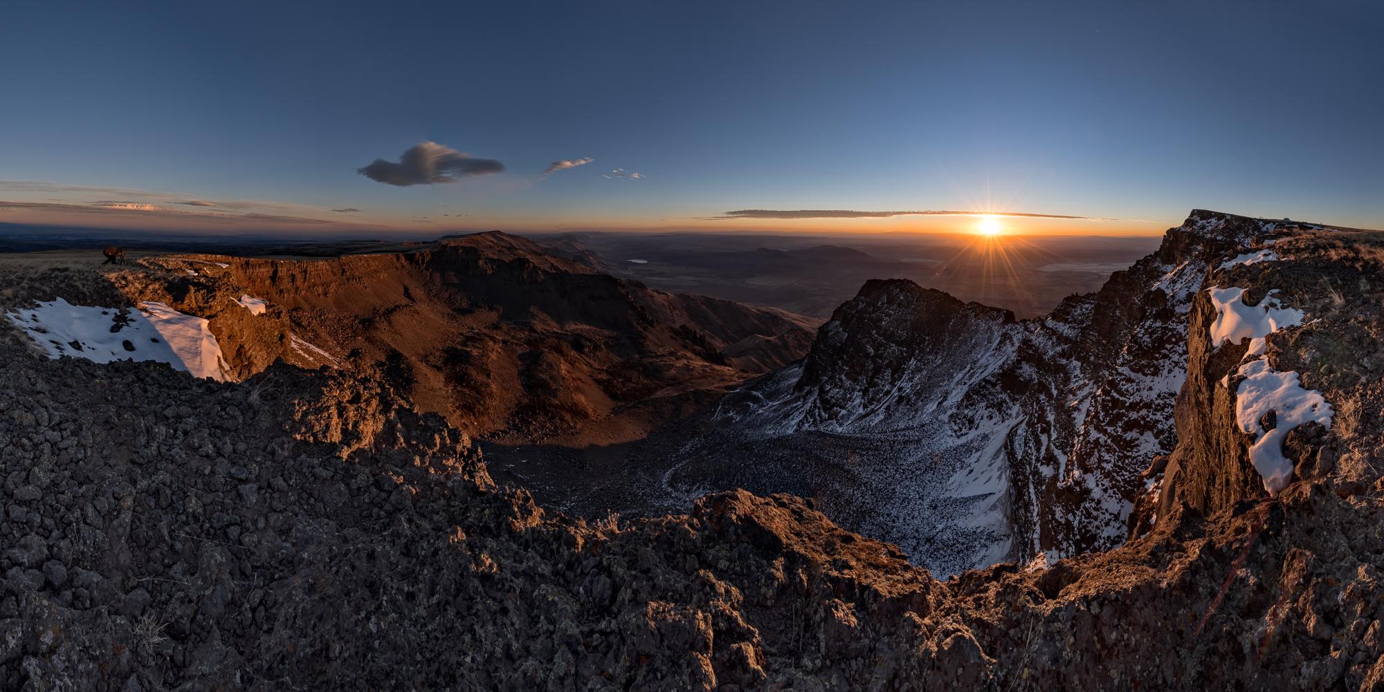 Steens Mountain: 13 image Nikon D810 Panoramic Merger. (Click image  to Enlarge)