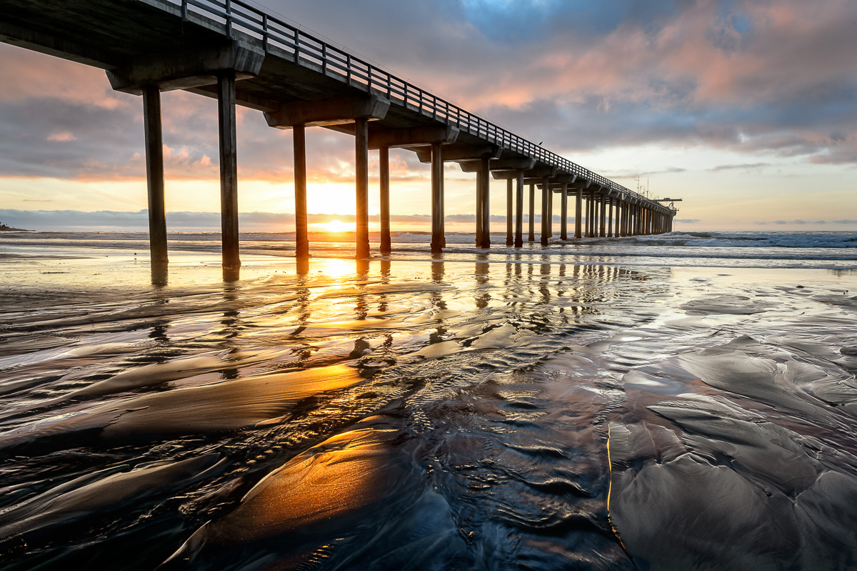 Sunset at Scripps Pier: Nikon D4, Nikon 14-24 at F11 for 1/13th sec at 100 ISO
