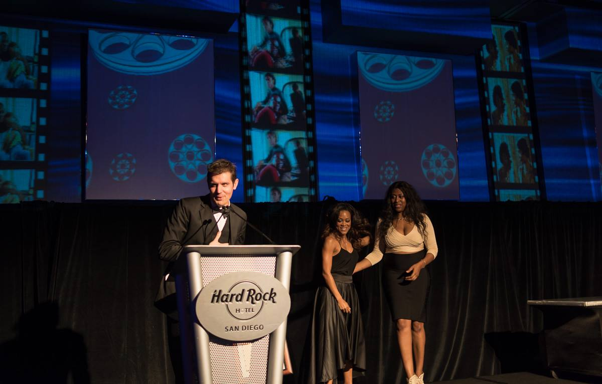 Andy Adkins accepts Best Director Awardfor An American Ascent at the San Diego Black Film Festival.