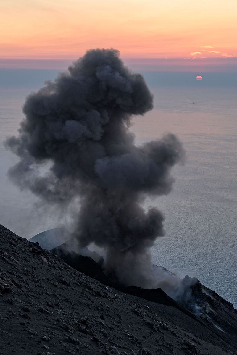 Stromboli Smokes At Sunset