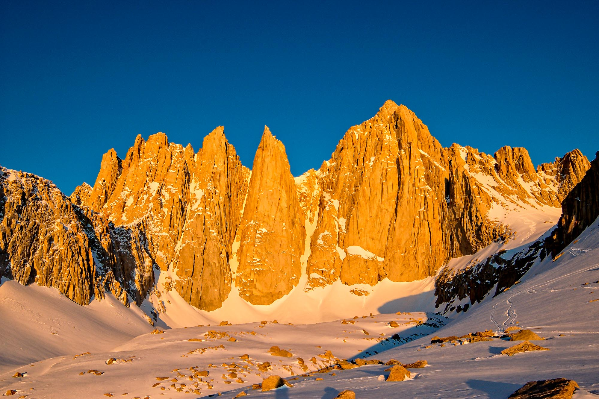 Dawn on Mount Whitney: Mountaineer's Route visible to the right.