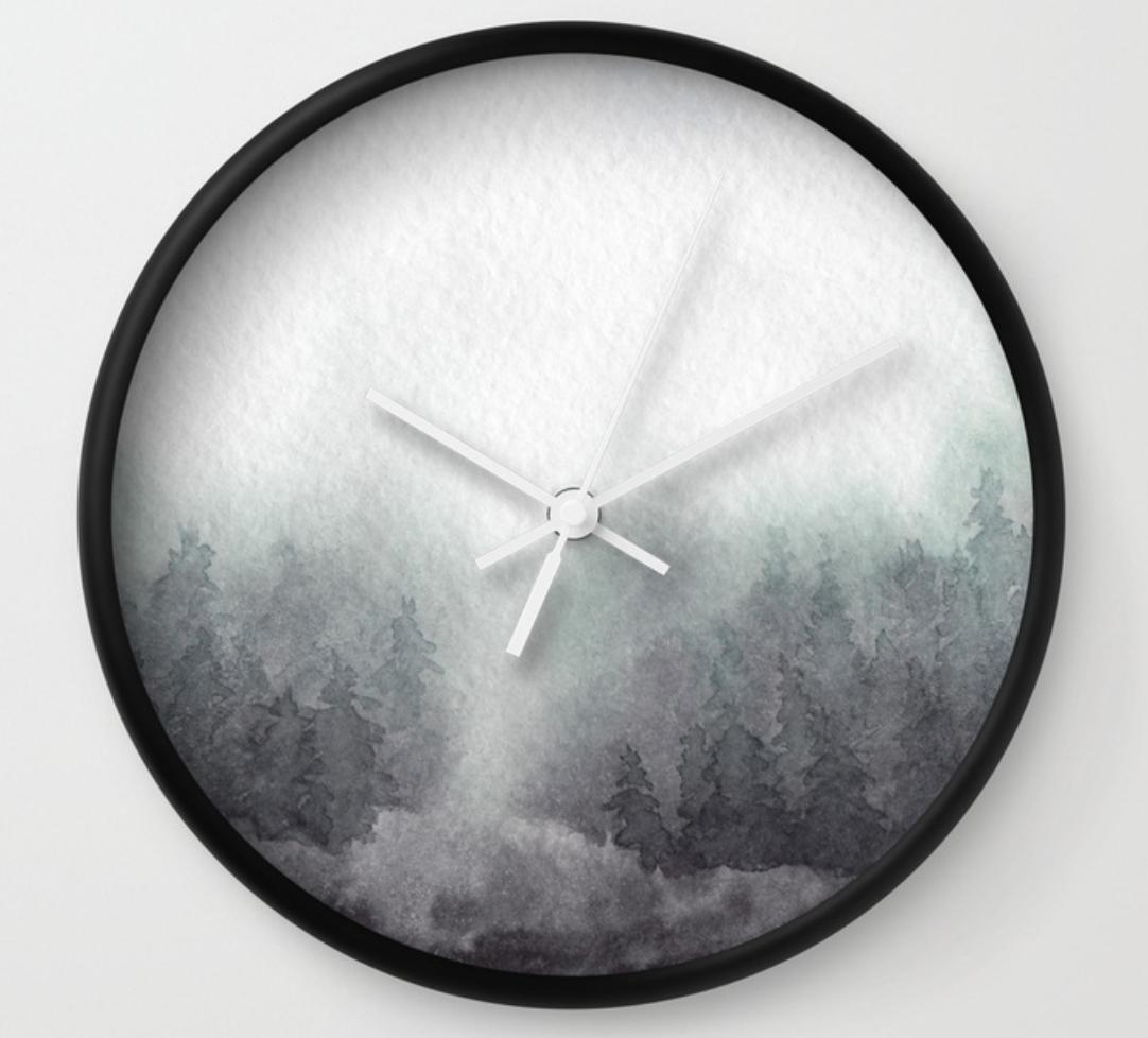 misty forest wall clock by stuffxwonderland for society6 on ashleyfisher.ca