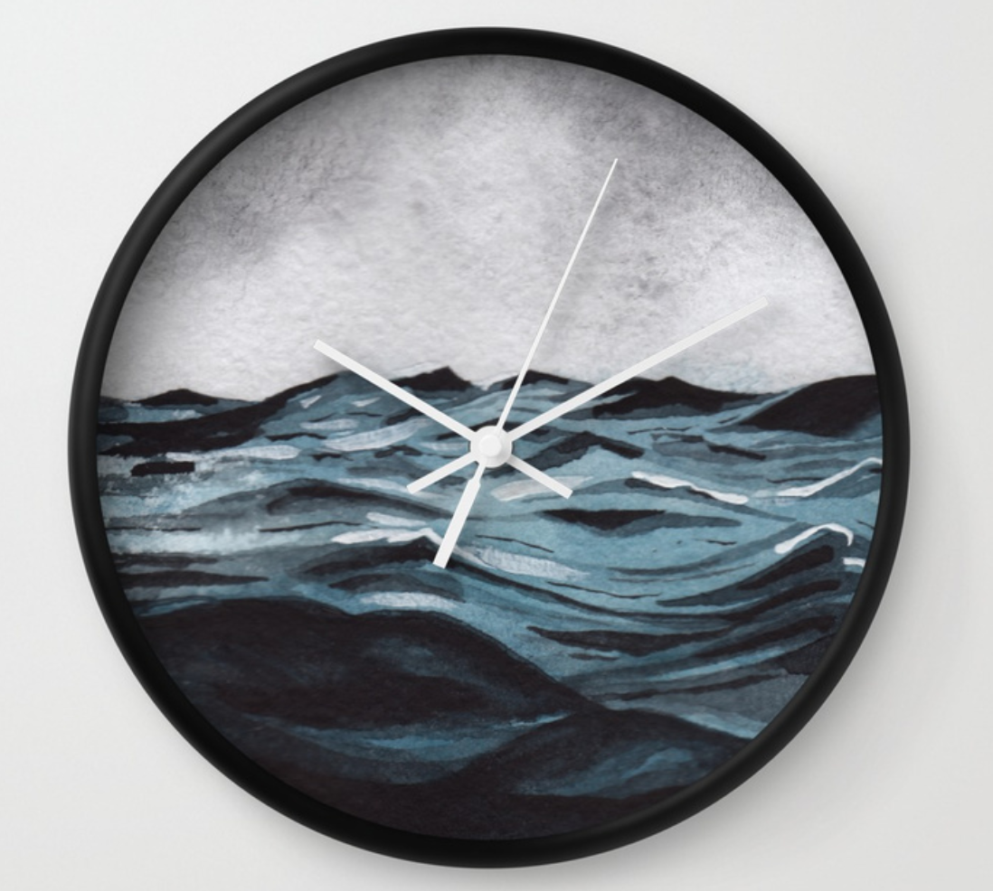 stormy ocean wall clock by stuffxwonderland for society6 on ashleyfisher.ca