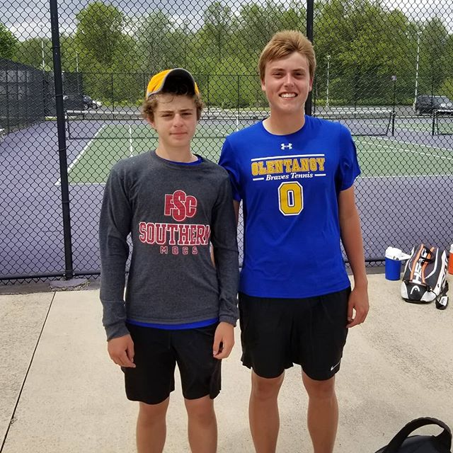 Proud of all of our guys for a great season, but special shout-out to @oh.khayat and Sam for advancing to Districts today without dropping a game! #GoBraves #iAMsmiling