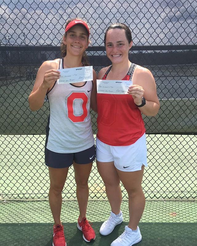 Congratulations to Kathleen Jones for winning some 💲💲 by winning the Bernard Master's open dubs championship with Mary Beth Hurley! Textbooks are expensive these days, so should come in handy #GoKJ #GoBraves