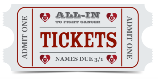 """Click ticket to download excel template. We need to have the names and email addresses of you and all your guests no later than March 1. Also, please note that, to maximize our fundraising efforts, on March 7, we will put """"unfilled"""" seats back on the market, making them available to individual players.Click button to download."""