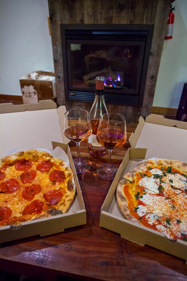 Our first night in Jackson. We decided to get pizza even though we were still stuffed from Red Iguana. :) We ended the night fireside with some rosé. Pizza is from Pizzeria Caldera.