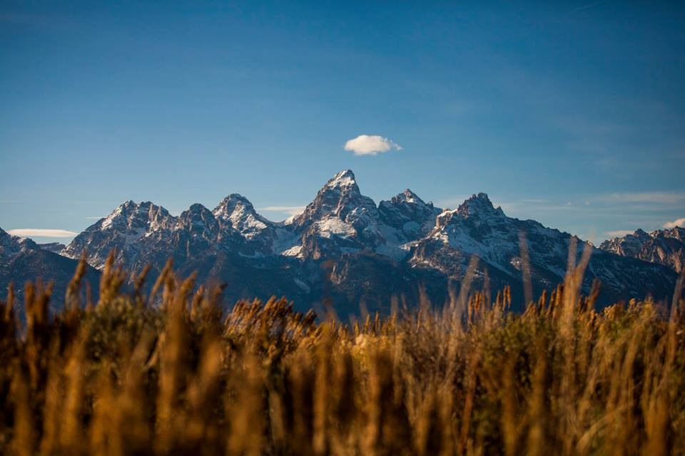 The beautiful Grand Tetons seen from Antelope Flats.