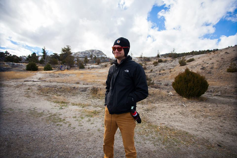Bryan carrying the bear spray! Thankfully we didn't have to use it.