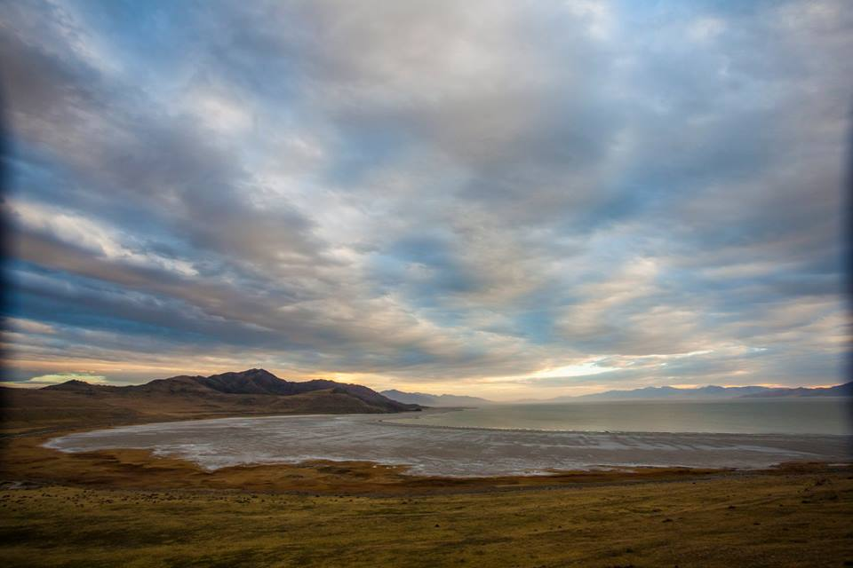 View from Buffalo point of the Great Salt Lake at Antelope Island State Park.
