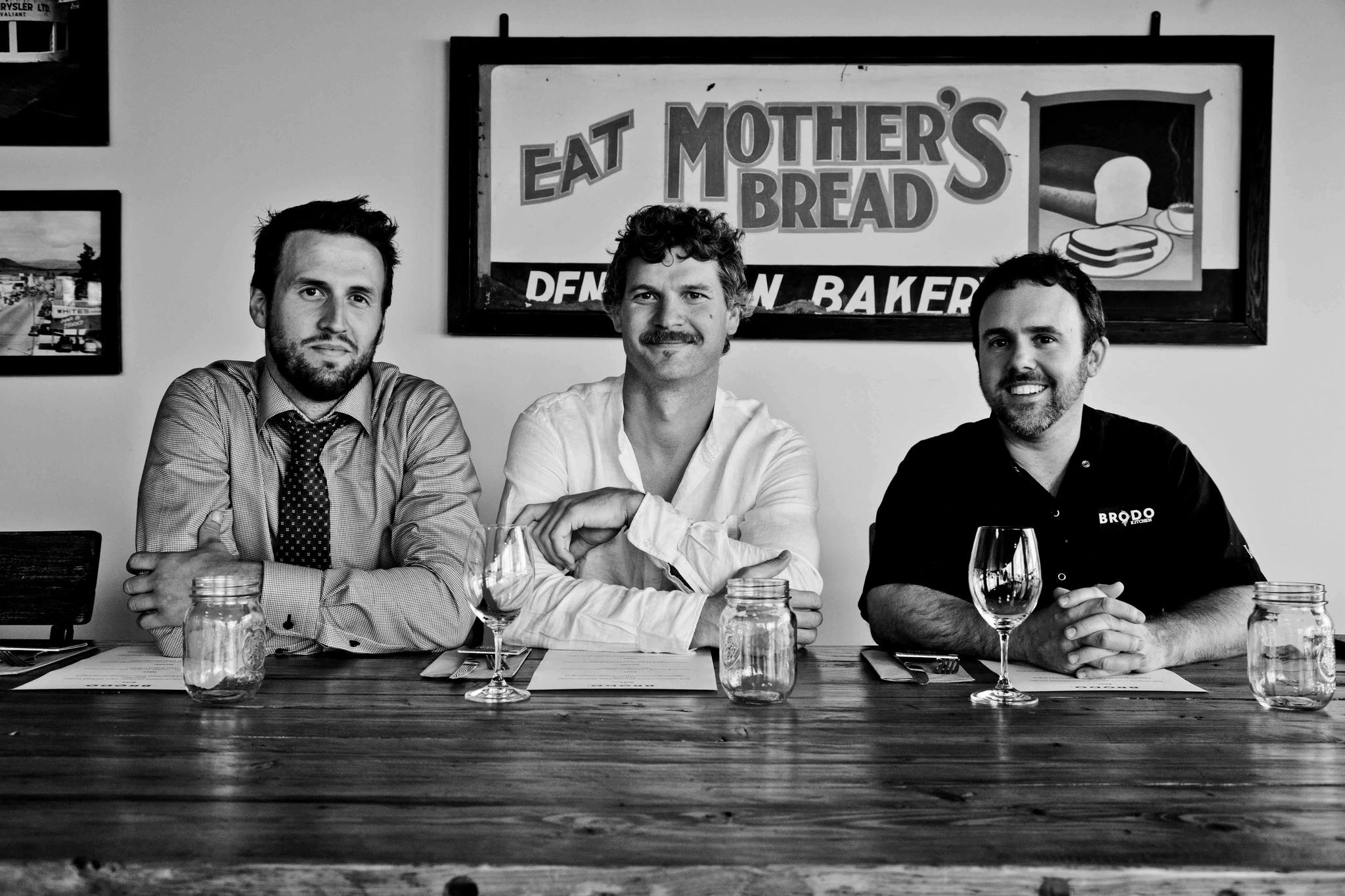 Jordan, Tyler Harlton of TH Wines, and Paul Cecconi of Brodo Restaurant pose before their Vintner.Farmer.Chef event back in August. The three co-hosted a dinner that featured Homestead veggies, Tyler's wines, and a four course meal prepared by Chef Paul. Taryn Parker took the photo.