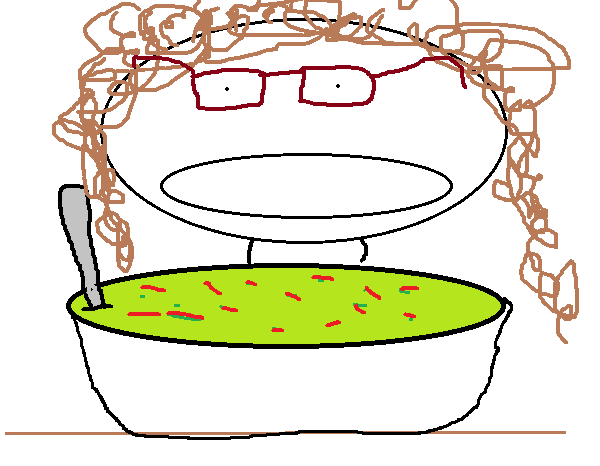 Vanessa dips into a heaping bowl of broccoli soup.