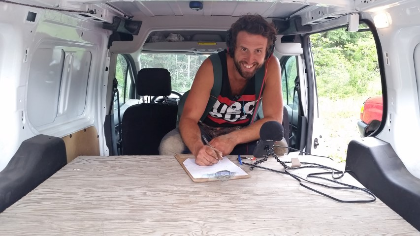 When the cabin is too noisy, Jordan has to record his podcast, The Ruminant, in the delivery van.