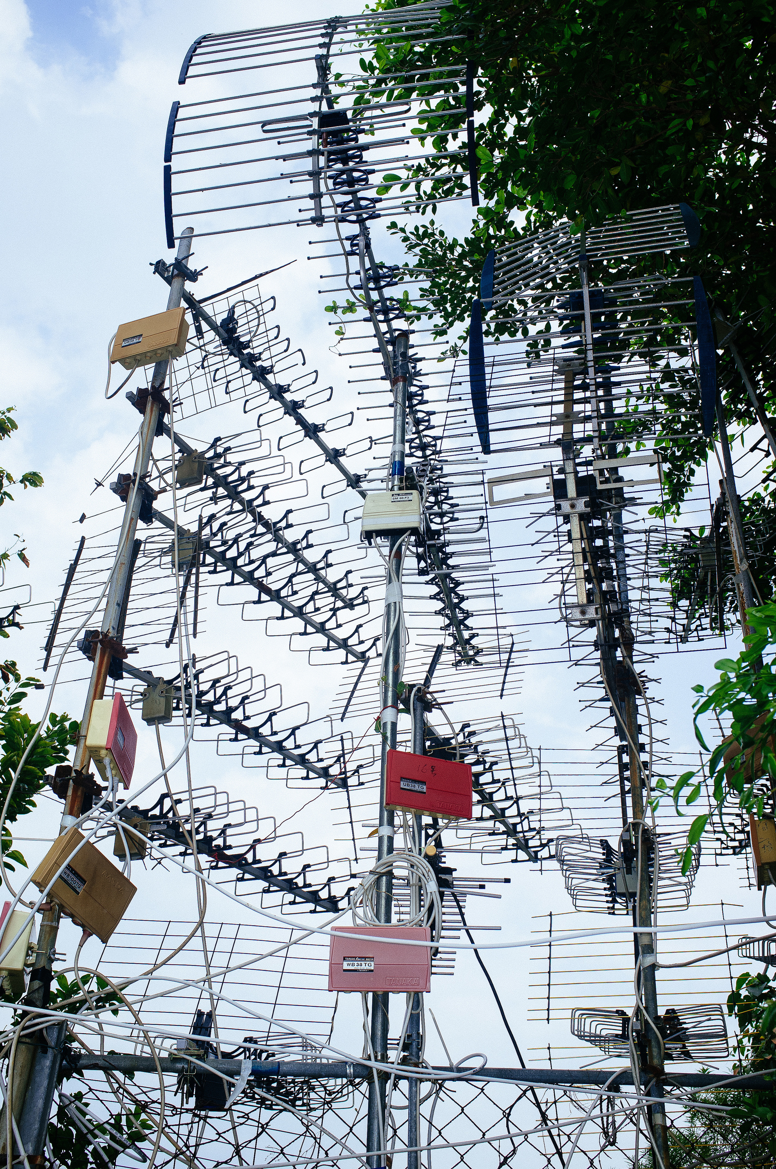 There are numerous antenna clusters around the island, of varying quality.