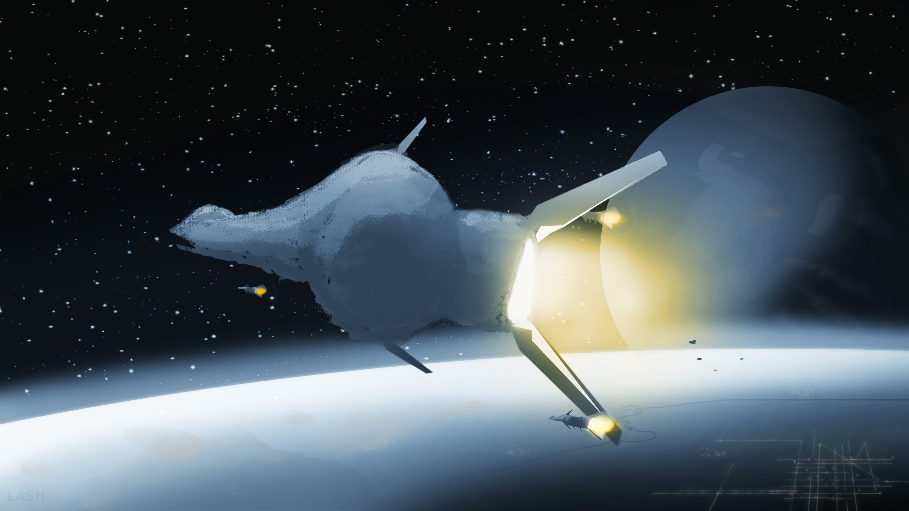 The CDF liquid gas transport ship Erasmus moves to attain skip distance under escort, moving vital supplies to Pheonix station to support to the defense against the Consu.