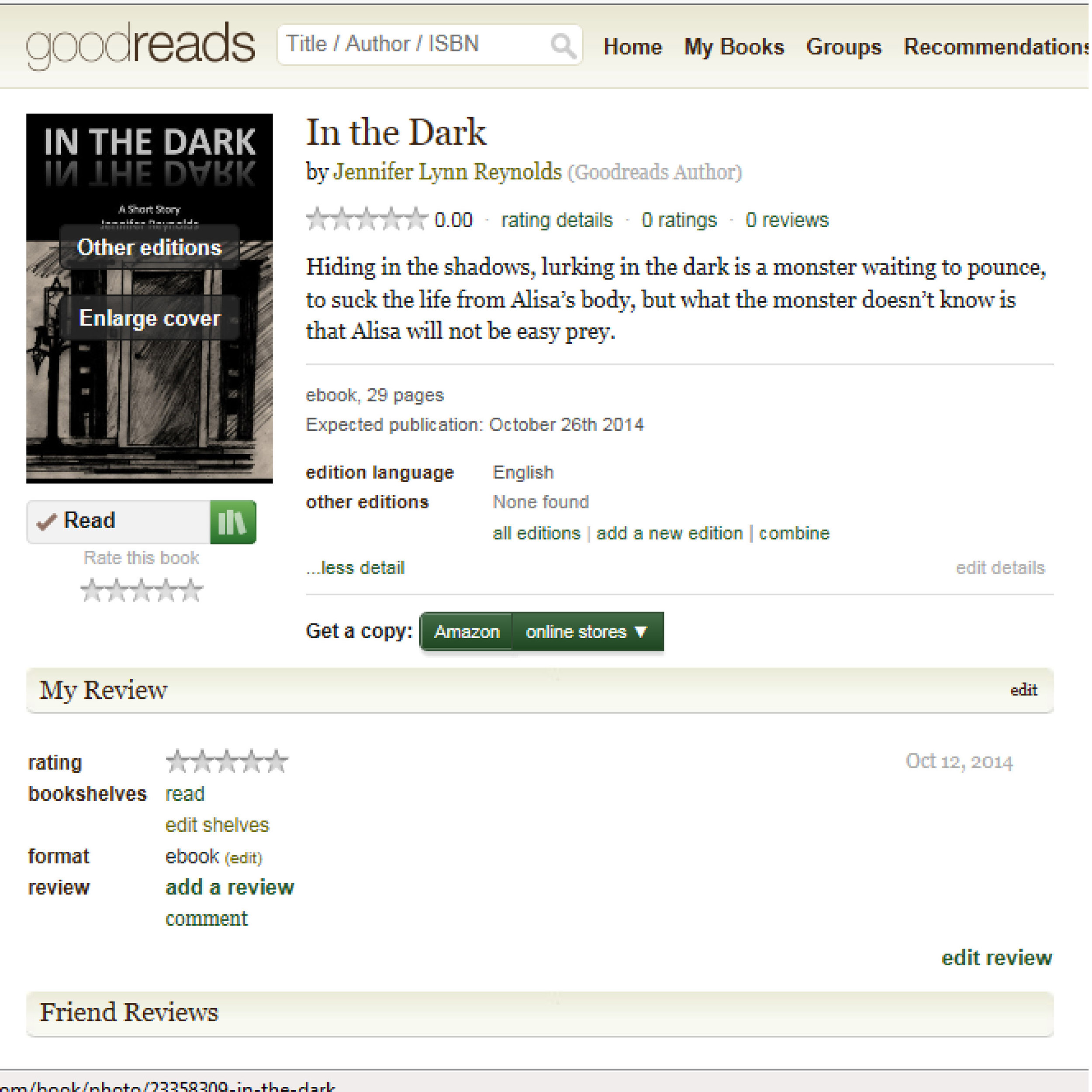 """In The Dark goes live tomorrow and is FREE. You can add this short story to your Goodreads """"to-read"""" list now at:  https://www.goodreads.com/book/show/23358309-in-the-dark"""