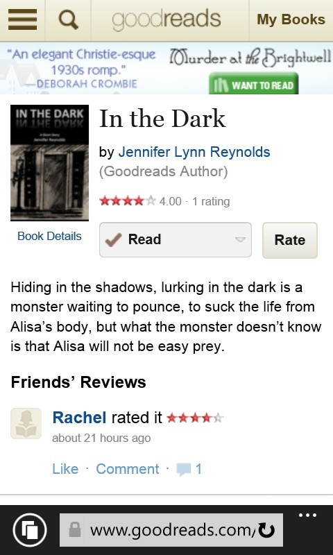 IN THE DARK has its first review on Goodreads.