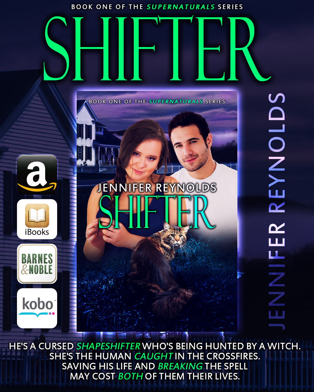 ***Shifter, Supernaturals Book 1, is a BBW paranormal/shifter romance available for $2.49.   Shifter is also available on Audio @ Audible.com*** Read by Margi Stephens   Abby is a plus size woman struggling to learn to love herself despite the damage her ex did to her mentally and psychically. For reasons unknown to her, she wakes one morning with an urge to adopt another cat. What she doesn't know is that the cat she picks is actually Dimitri Sullivan, the son of a local shapeshifter pack's alpha who was cursed by a powerful witch into the form of a common house cat after he had a one-nightstand with her. As the months pass, Dimitri finds himself falling in love with his new owner, but there is just one problem, she doesn't know that he is her cat and she is currently dating his brother. When the witch that cursed him discovers that by falling for Abby, he is weakening her curse, she sets out to stop this from happening by any means necessary. SHIFTER is a full-length, stand-alone eBook.    Amazon        Smashwords         Nook         iTunes         Kobo         Overdrive         Audible