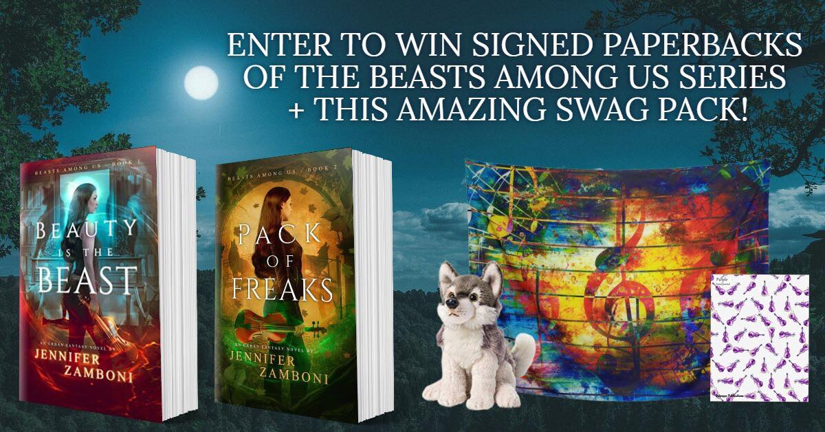 You could receive paperback copies of Beauty Is The Beast and Pack of Freaks, 1 wolf plushie, a purple violin journal, and a music note tapestry!  There are several ways to get in on this, including some daily tasks! Check it out:  https://fiction-atlas.com/2019/08/04/pack-of-freaks-release-giveaway/
