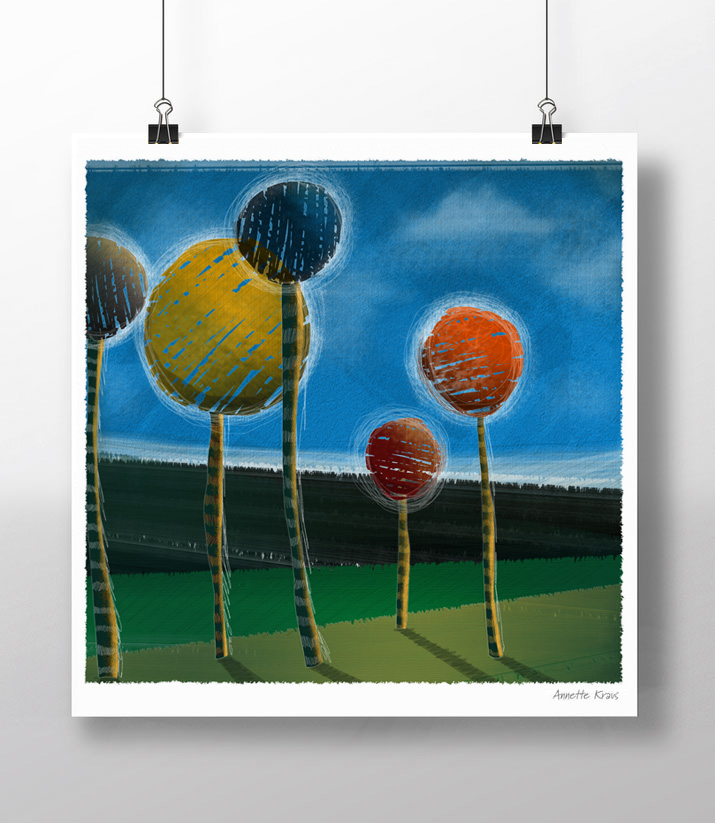A new piece I did this summer to included in the Madison Park Art Walk, Sept. 11, 2015  Entitled: Funny Trees III  Limited Edition Archival Giclee Print
