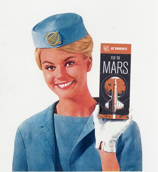 1963 magazine ad for flights to Mars
