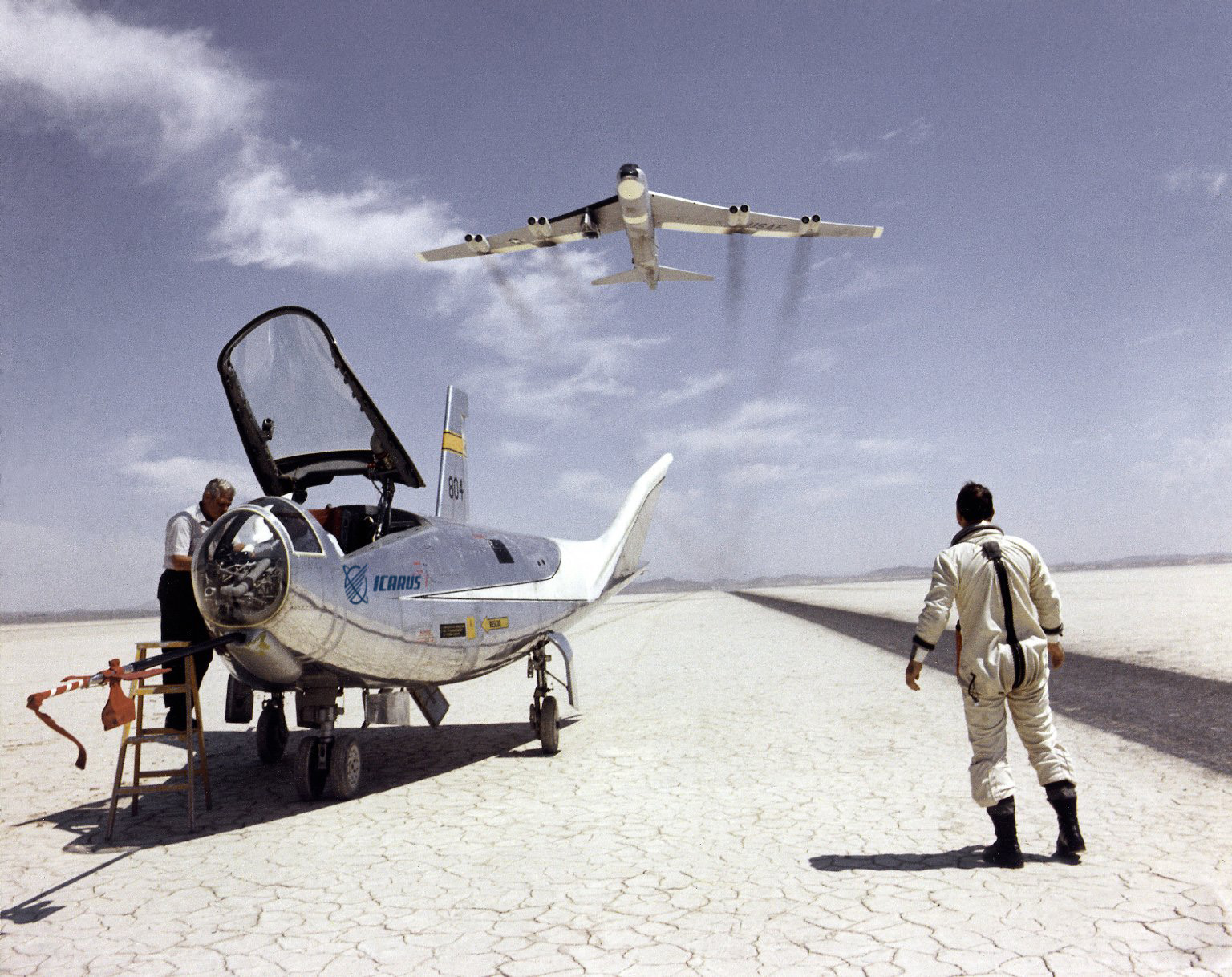 Icarus HL-10 on Lakebed with B-52 flyby.jpg