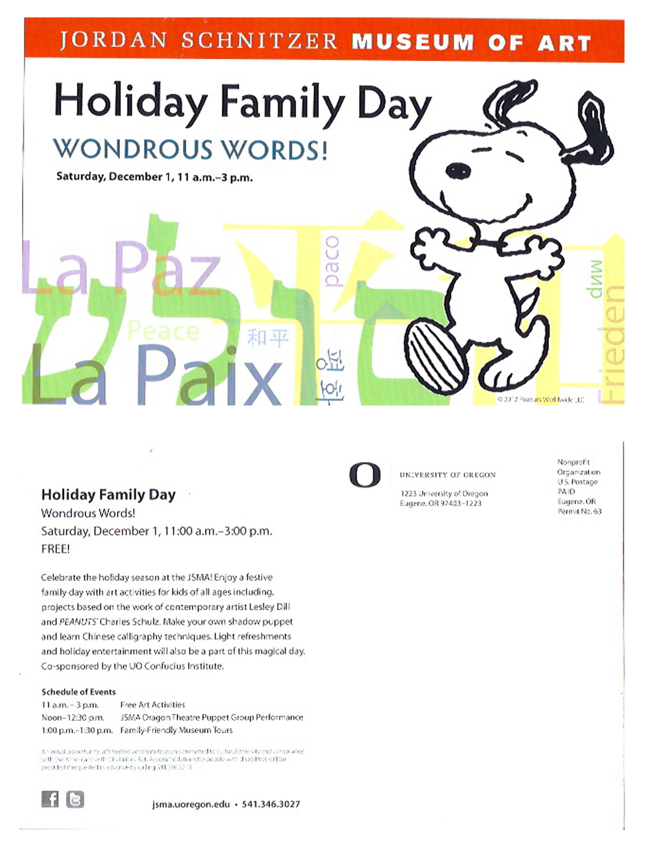 "Postcard for JSMA event ""Holiday Family Day: Wondrous Words!"""