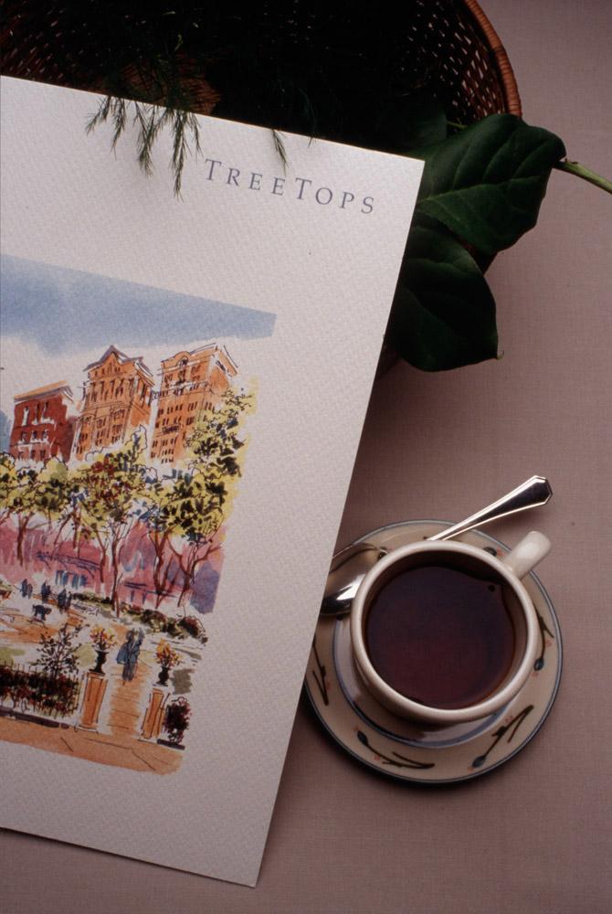 Treetops menu and tea service