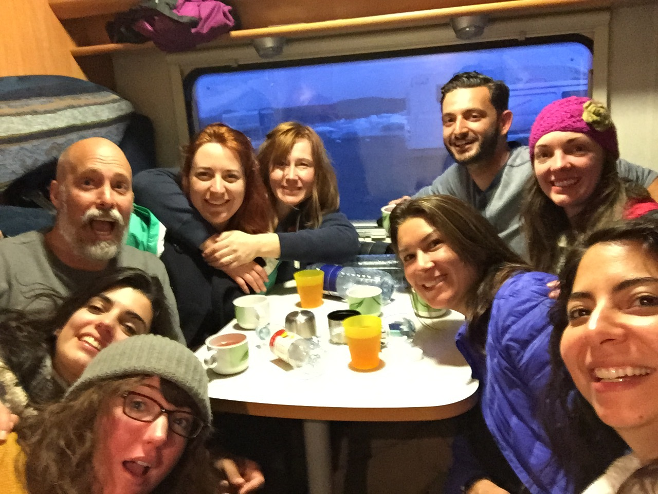 Late night drinks with the Fromagis in the RV's, surrounded by icebergs