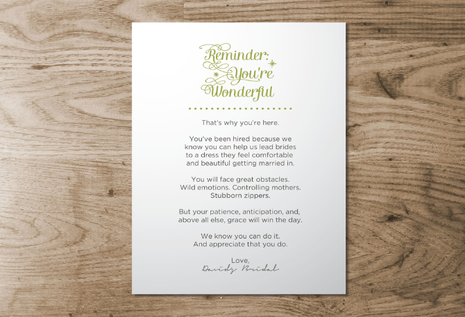 An encouraging note to employees from David's Bridal.