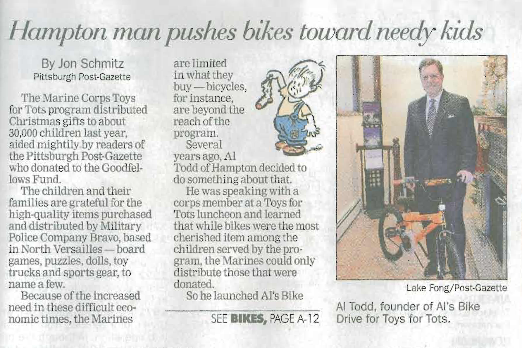 20121206 - post gazette bike drive article - actual print.jpg