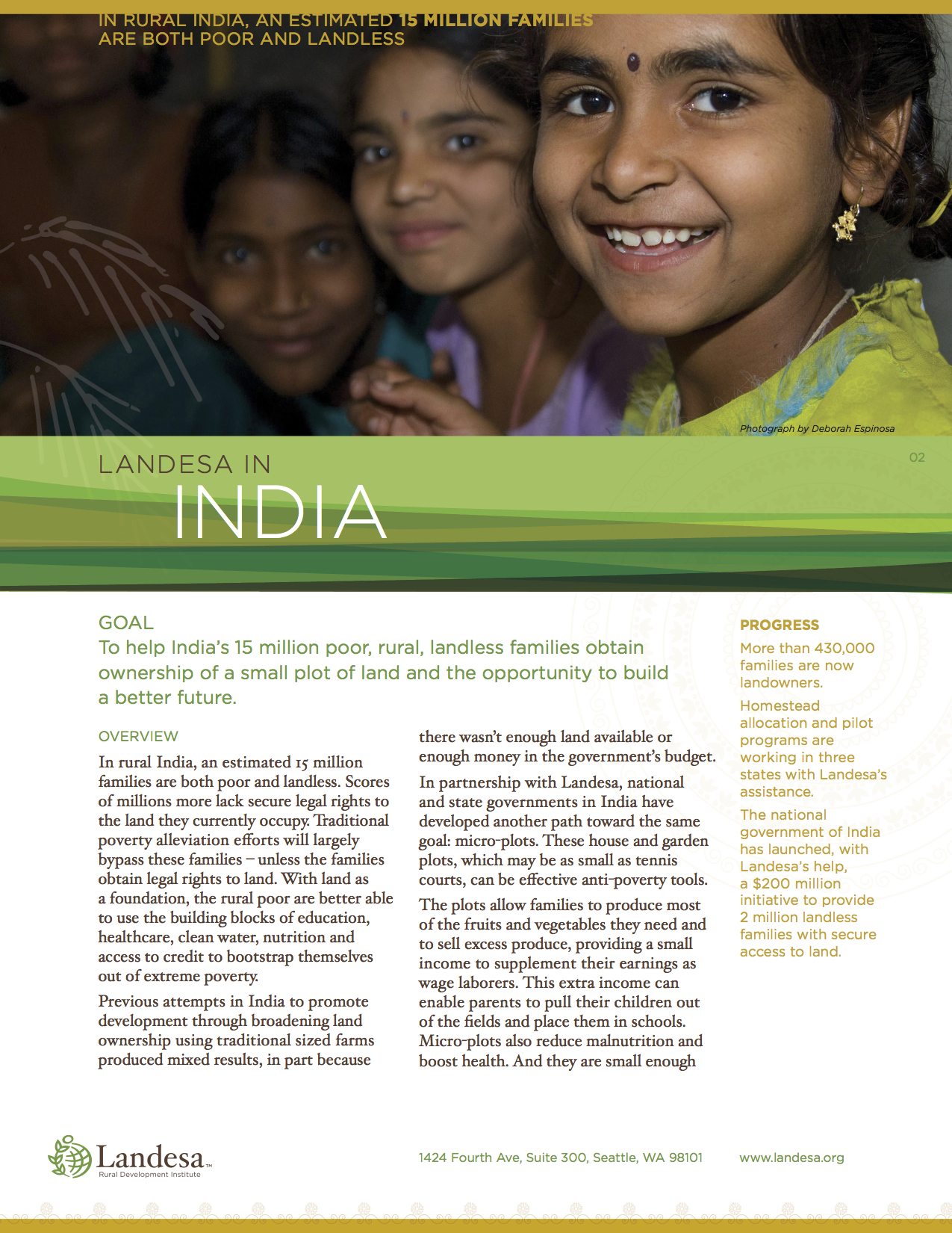 Fact Sheet for Landesa's work in India, which focuses extensively on women and girls.