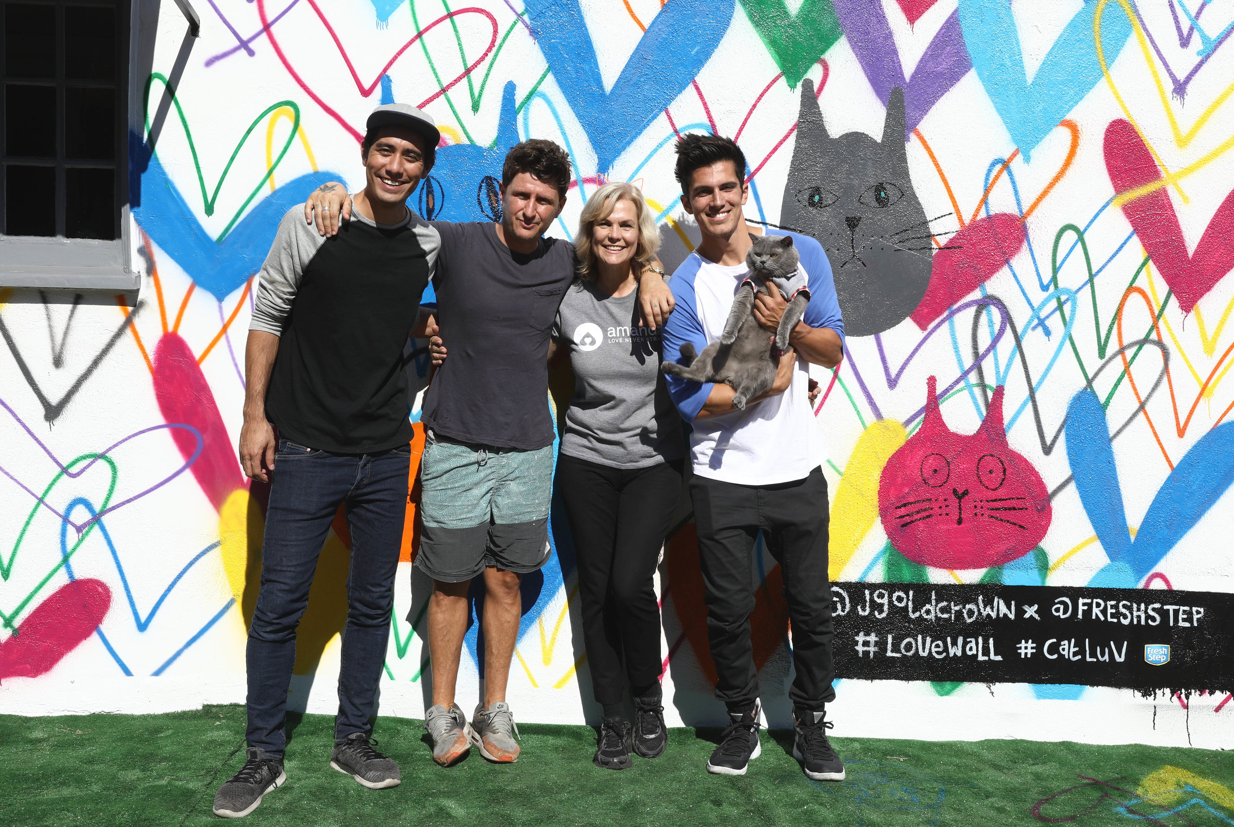 Zach King, James Goldcrown, Teri Austin of the Amanda Foundation, Aaron Benetiz and Prince Michael the cat
