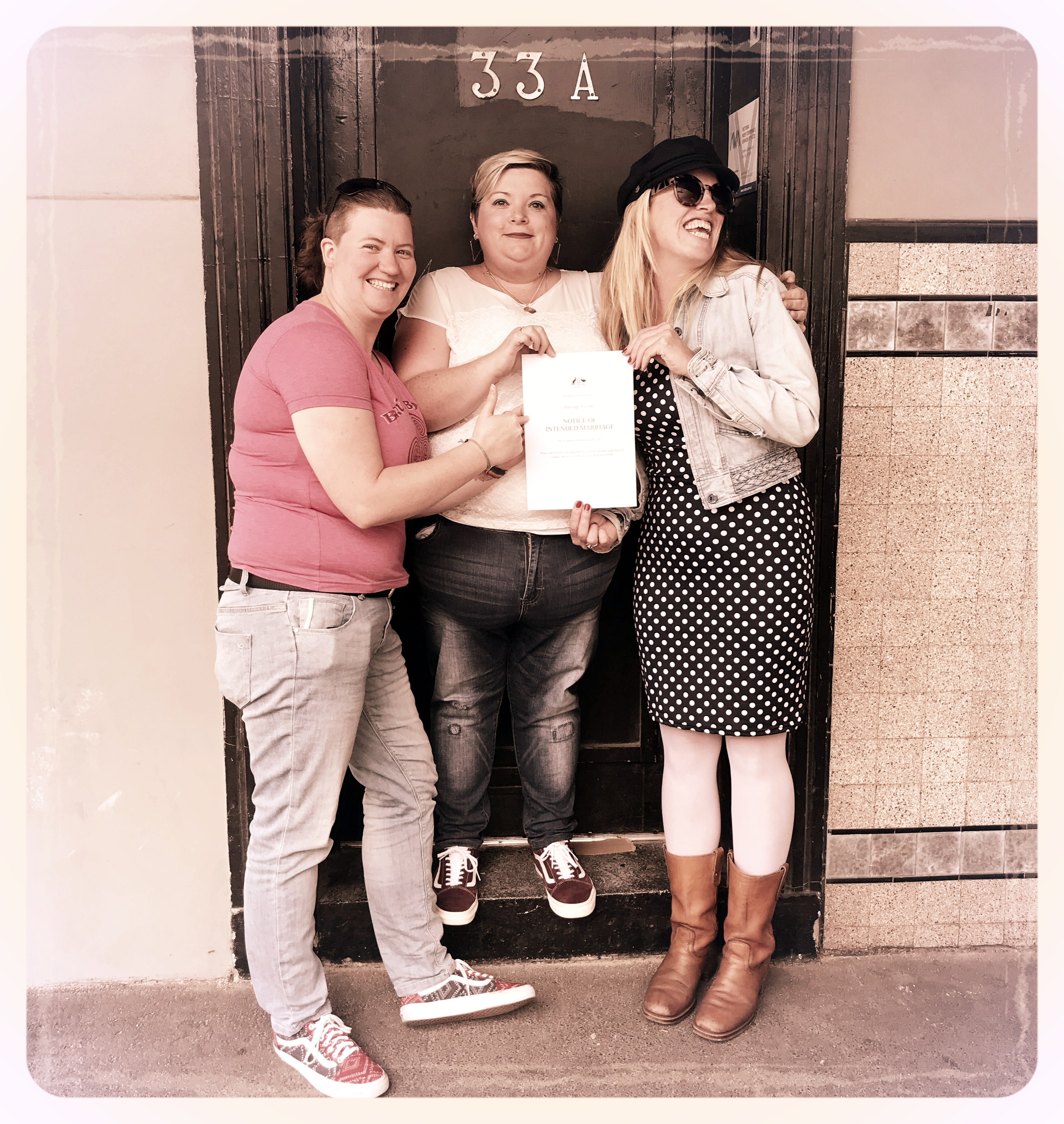 Jess, Belinda and I pose for a celebratory photo after signing the  Notice of Intent to Marry  form on the very first day that same-sex couples could fill it in. We were very excited! Location: Sorse e Morsi - St Kilda