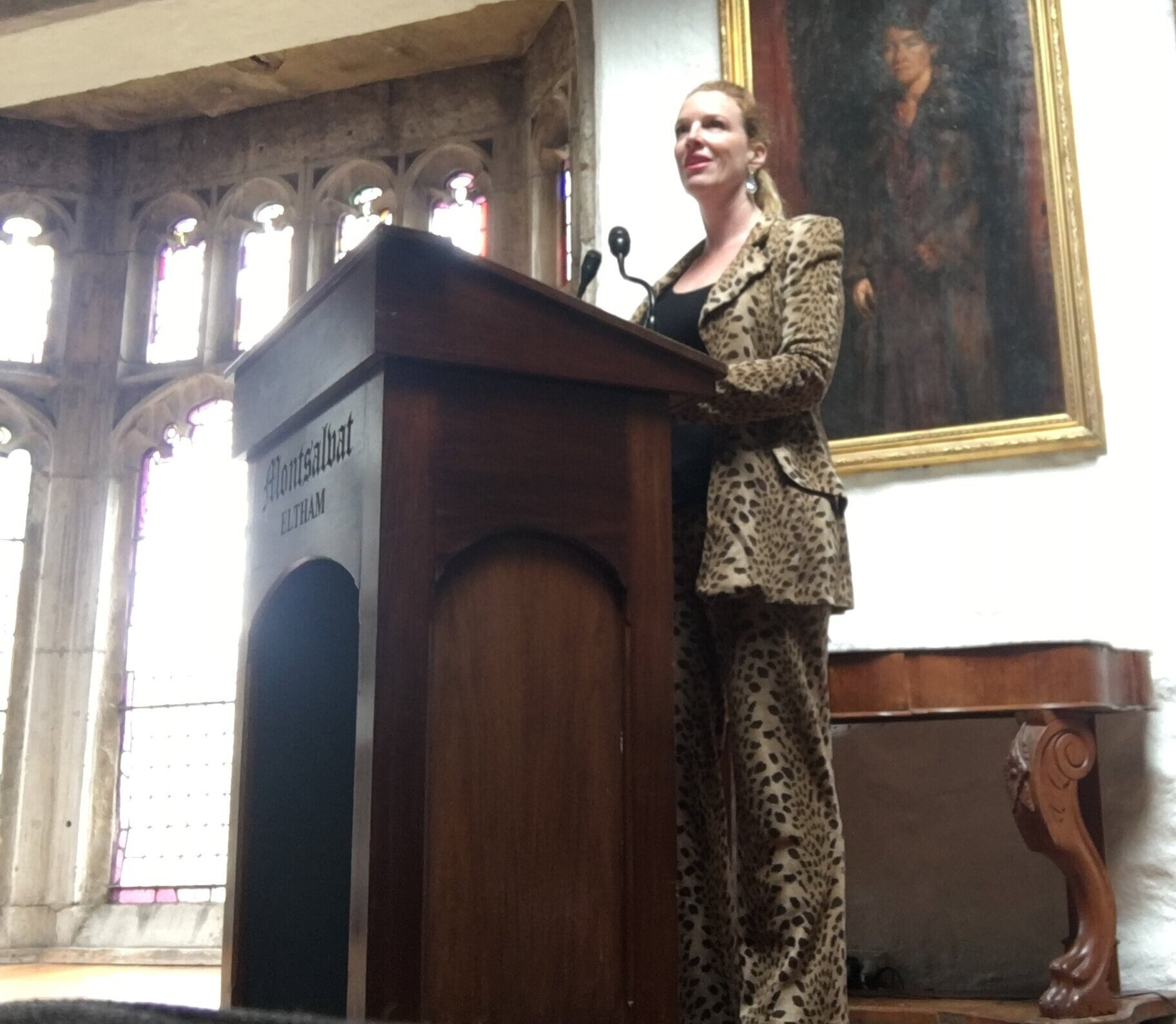 Leopard was the dress theme for this sassy lady's funeral at Montsalvat