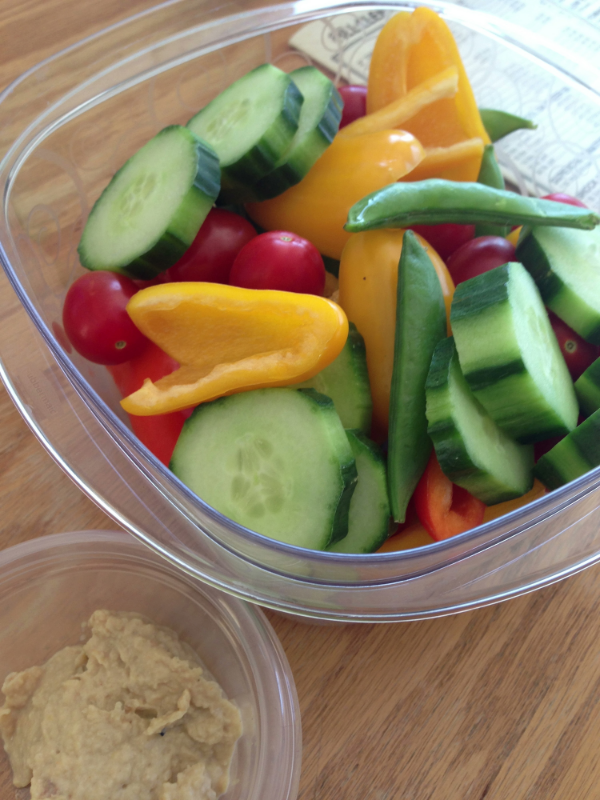 Fresh veggies and humus from home