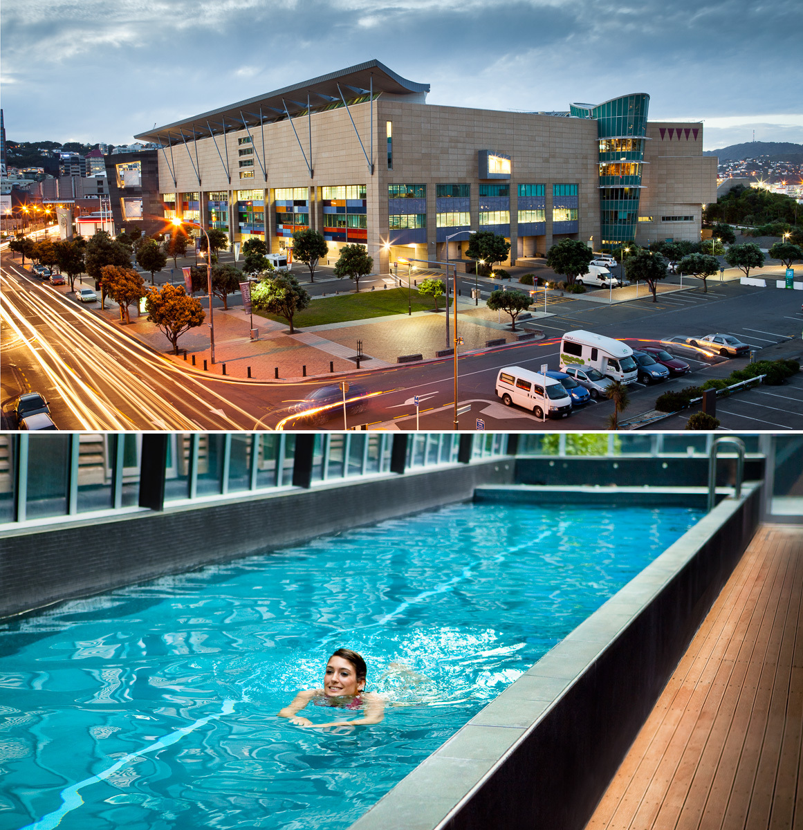 Hotel Pool and Tepapa at Dusk