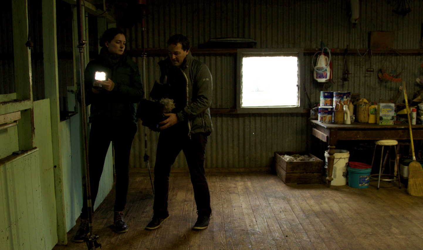 Bridget and Nik in the shearing shed